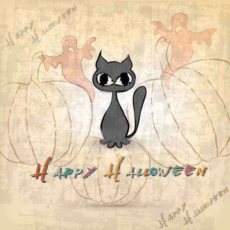 Halloween background with cat  Illustration