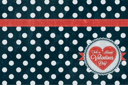 Happy Valentines Day Card  with retro design Vector