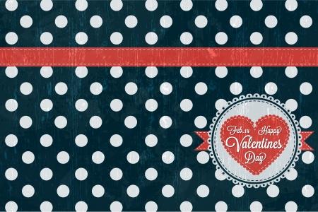 Happy Valentines Day Card  with retro design