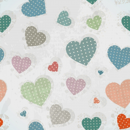 Retro Pattern with Colorful Hearts with Retro Texture Illustration