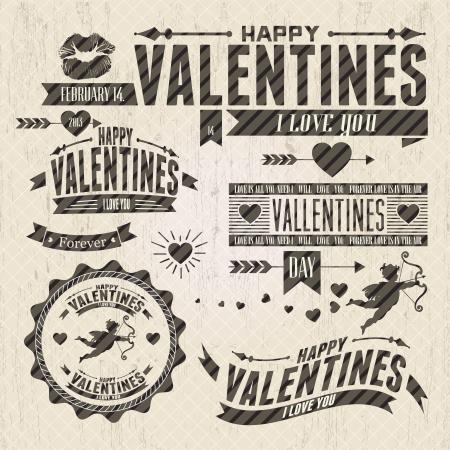 Valentine `s Day vintage design elementen met ornamenten, harten, lint,