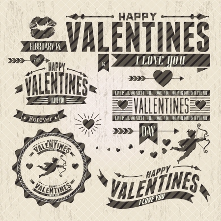 types: Valentine`s Day vintage design elements  with ornaments, hearts, ribbon,  Illustration
