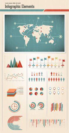 Retro infographics set  World Map and Information Graphics Illustration