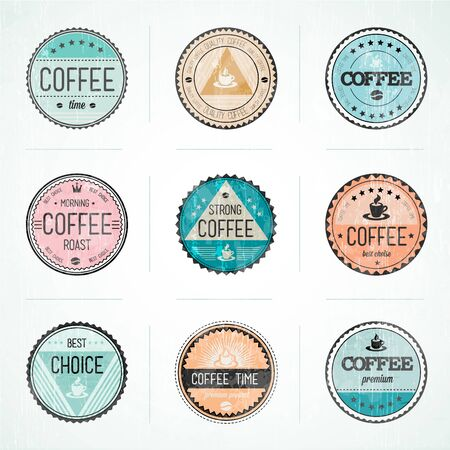 Set Of Vintage Retro Coffee Badges -  Compatibility Required