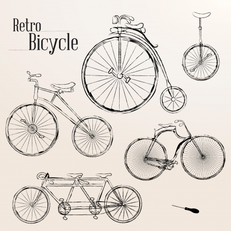 Vintage bicycle set - Compatibility Required Vector