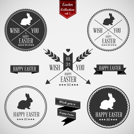 Set of easter badges - Compatibility Required Vector