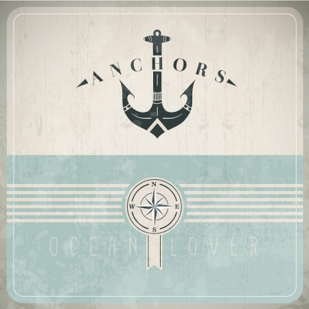 anchor: Vintage Design Template With Anchor - EPS10 Compatibility Required