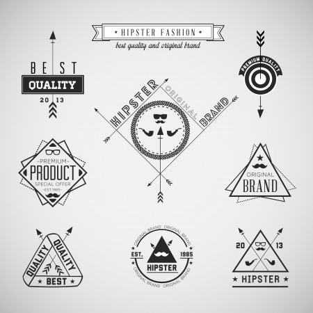 Set of hipster vintage retro labels -  Compatibility Required Vector