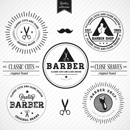 salon hair: Set of vintage barber shop -  Compatibility Required