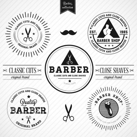 barber shop: Set van ouderwetse kapperszaak - Compatibiliteit Verplicht Stock Illustratie