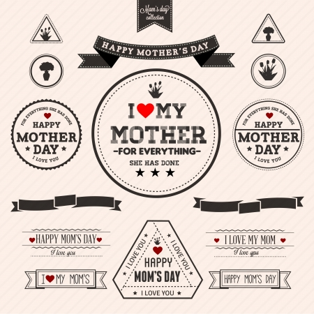 Set of vintage Happy Mothers Day -  Compatibility Required Vector