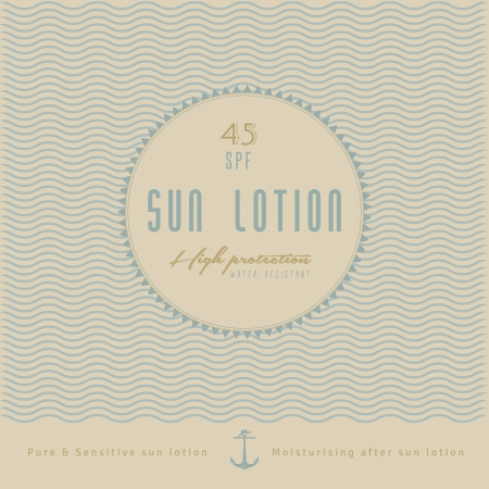 suntan lotion: Retro Sun Lotion Label Design   retro, vintage style with anchor