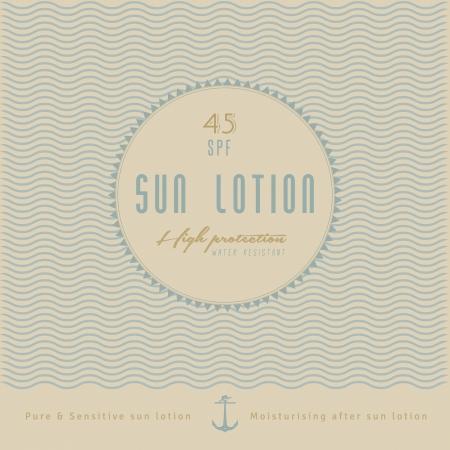 sun lotion: Sun Lotion Label Design retro, estilo vintage retro con ancla