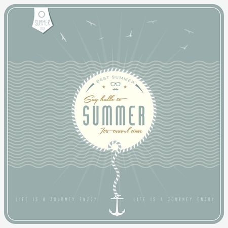 say hello: Say Hello to Summer    retro  background     with anchor Illustration