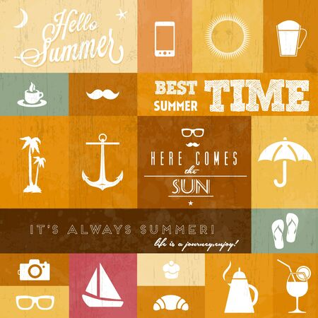 Summer icons   whith creative typographic message for summer   retro color version Vector