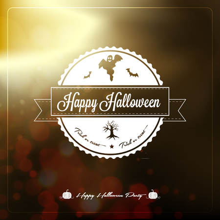 Happy Halloween Label  - with retro vintage styled design Vector