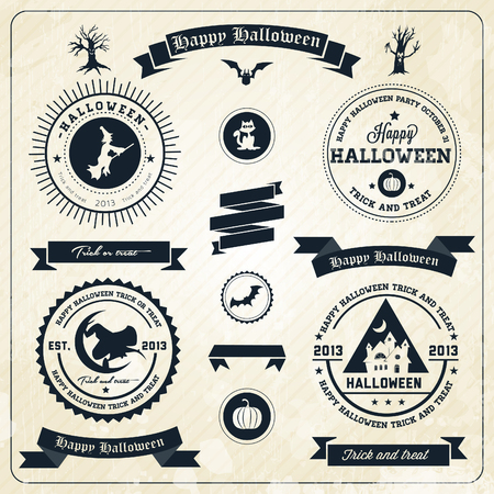 Halloween party labels and icons  - with retro vintage styled design