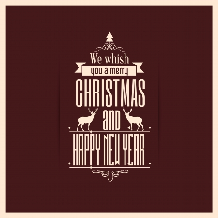 Vintage styled Christmas Card - Set of calligraphic and typographic elements Vector