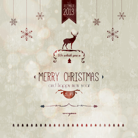 Vintage styled Christmas Card - Set of calligraphic and typographic elements