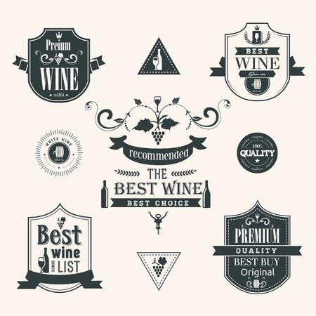 Wine labels set Illustration