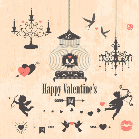 Decorative valentines day design elements