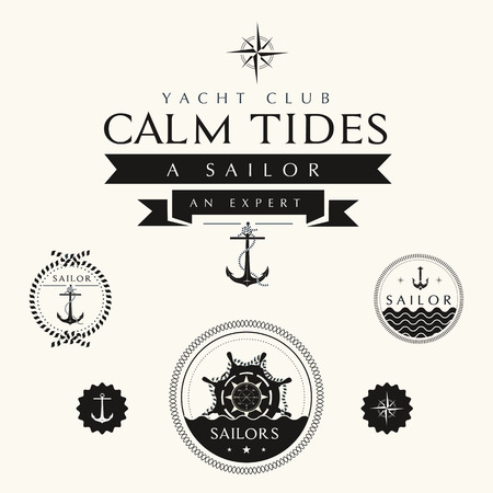 captain ship: Collection of Vintage Nautical Badges and Labels Illustration