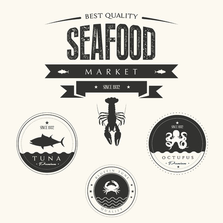 fine fish: Set of vintage seafood  labels, badges and design elements
