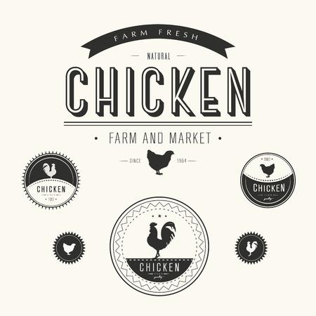 鶏農場や市場のラベルのセット