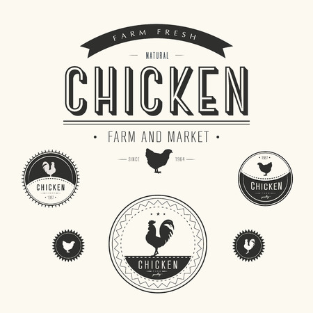 farm fresh: Set of chicken farm  and market labels Illustration