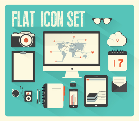 Flat icon set for Web and Mobile Application with long shadow