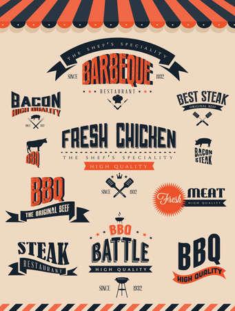 BBQ Label sets Vector
