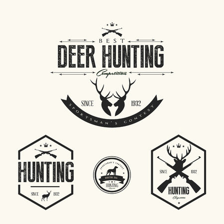Set of vintage hunting labels and badges Vector