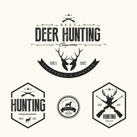deer hunter: Set of vintage hunting labels and badges Illustration