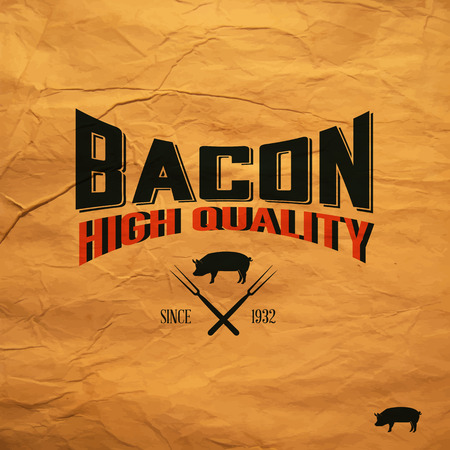 Vintage bacon label Vector
