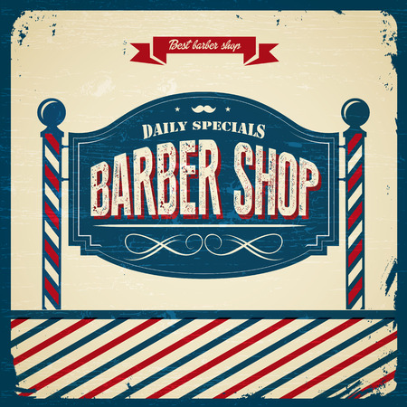 парикмахер: Ретро Парикмахерская - Винтажный стиль Иллюстрация