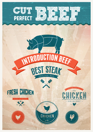 Fresh Chicken and pork beef badges Vector