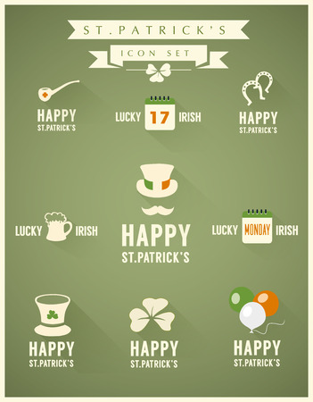 A set of flat design long shadow icons for St  Patrick s Day Vector