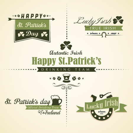 paddy: Vector set of Saint Patricks Day ornaments and decorative elements, with retro vintage styled design Illustration