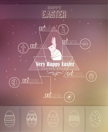 Happy Easter icon sets Vector