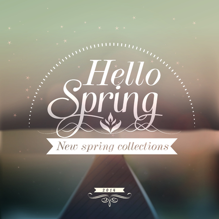 Hello Spring typographic design with colourful background