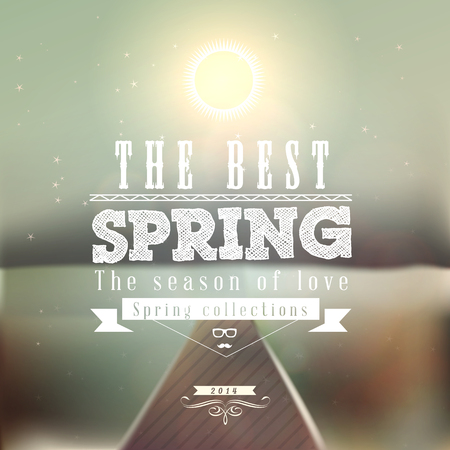 The Best Spring typographic design with colourful background Illustration