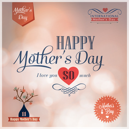 Happy Mothers Day  design elements  Illustration