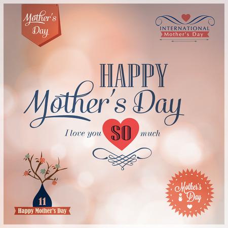 Happy Mothers Day  design elements  Illustration