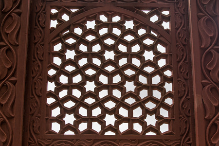 Beautiful marble carvings on Akbars Tomb temple, Agra, India. photo