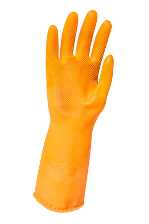 orange rubber protection glove isolated over white background