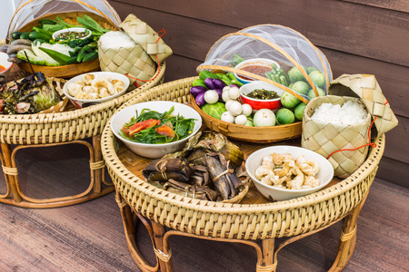 Kantoke, traditionally meal set was popular in North of Thailand, particularly Chiang Mai photo