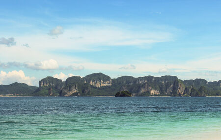 Andaman sea against blue sky at railay bay Krabi bay Thailand rainbow. photo