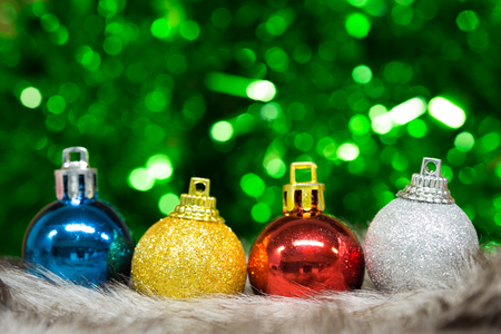 Christmas balls on abstract light background. photo