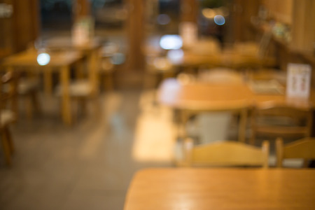 Blurred restaurant with bokeh background. photo