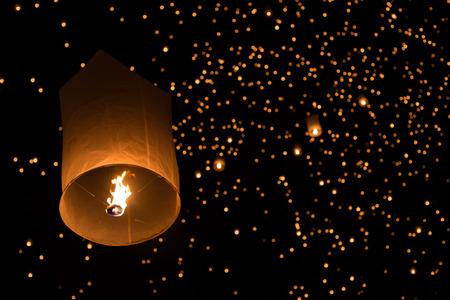 balloon fire yeepeng in north Thailand  chiangmai. photo